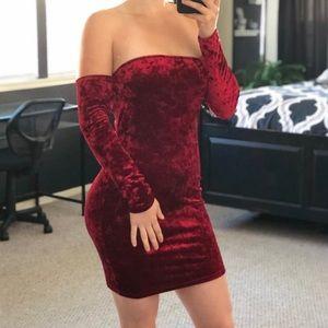 F21 Red Velvet Off The Shoulder Dress